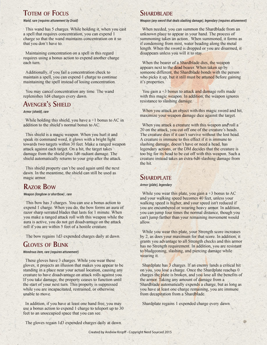 D&D 5e Custom Magic Items | Shards of Fun | Nerd Sourced